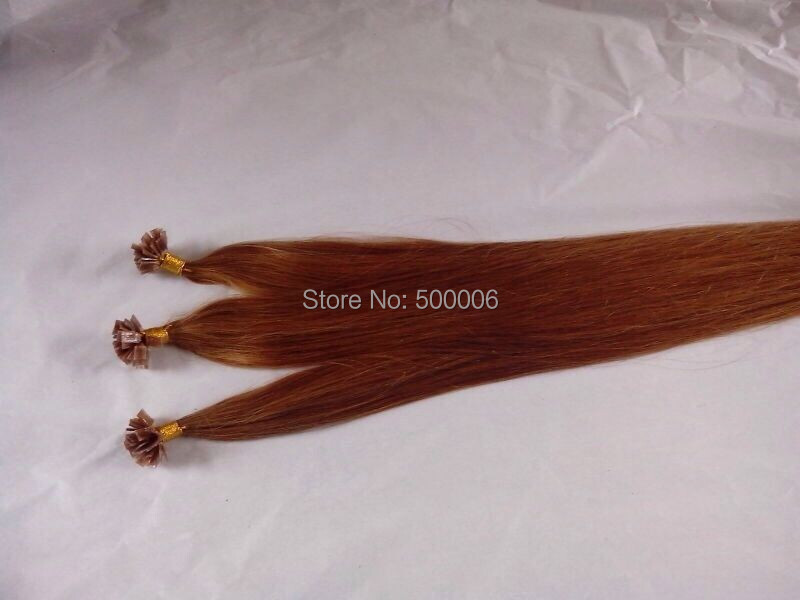 16-26 italian keratin flat tip human hair extensions peruvian remy hair 100g/pack #30 in stock<br>