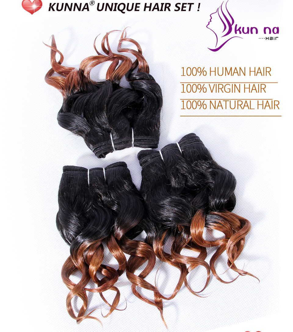 KUN NA 7A Virgin Human Hair Weaves Ombre Color T1B/30 Brazilian Curly Hair Extensions Set 3×8″ Two Tone 105g/Pack
