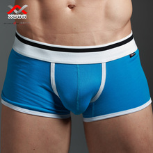 Buy men's boxers underwear 100% cotton small boxers sexy low-waist four corners panties male u solid color breathable belts for $3.98 in AliExpress store
