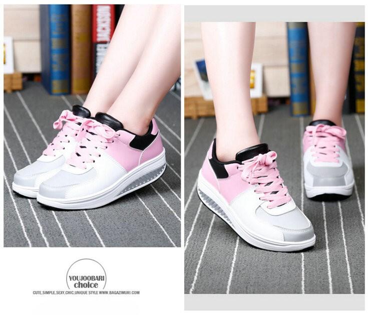 2016 Women Spring/Autumn PU Flat Platform Casual Shoes Womens Swing Walking Shoes Woman 4.5cm Heels Size 22.5-25cm
