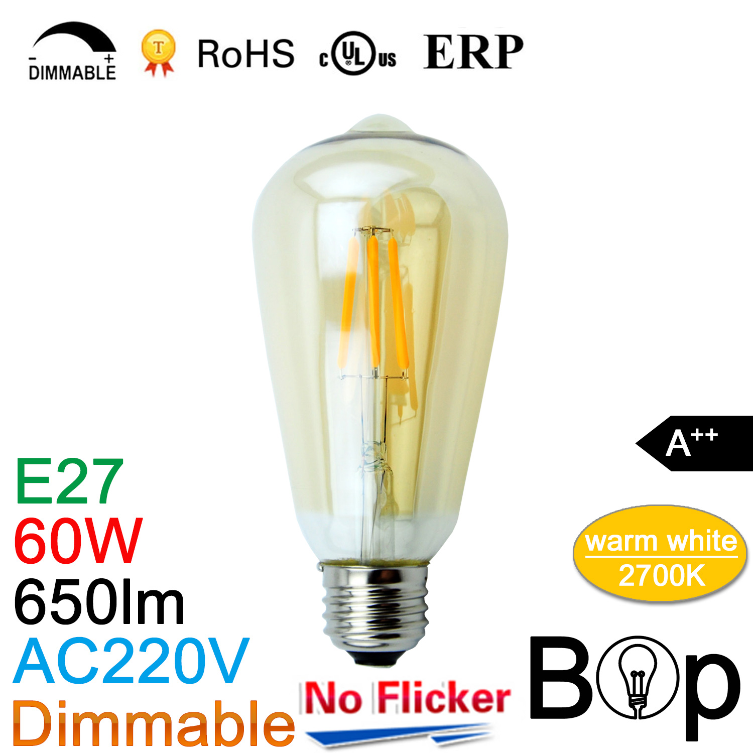 Hot sale amber ST64 BOP LED Bulb Filament Light Glass ball Lamp night lighting 60w Incandescent lamps AC220V in stock(China (Mainland))