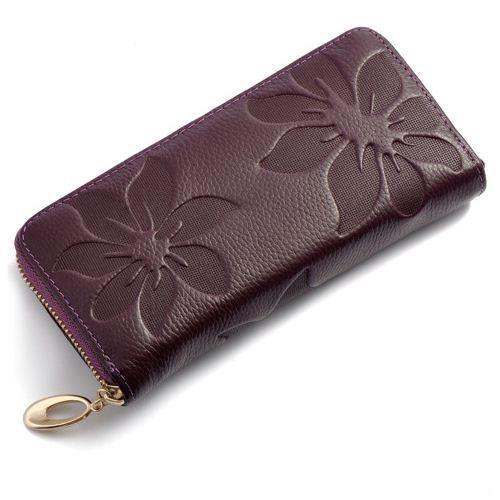 2015 Women Wallets Fashion Flower Print Genuine Leather Clutch Lady Vintage Bag Coin Purse Medium Long