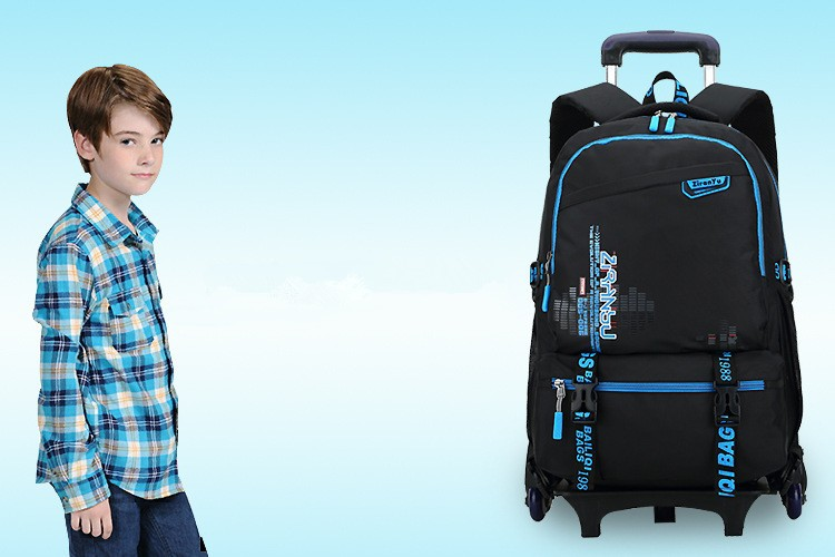 New Kids Trolley School Bags Boys Children Removable