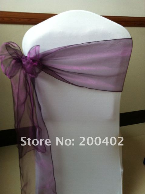purple  organoza  sash/chair sash/chair bow
