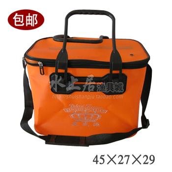 Folding Bucket,EVA Fishing Bucket,Mounted fish bucket 45CM orange color free shipping