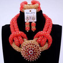 יוקרה תלבושות תכשיטים אפריקאים סטי זהב צבע ניגרי חרוזים סטי עבור הכלה נשים 2018 כלה תכשיטי שרשרת סט(China)