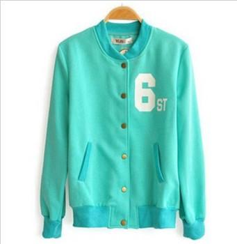 2014 Korea Women Coat Fashion Baseball Jersey Cotton Hoodies Zip Up Thick Cardigan Jackets CO-102