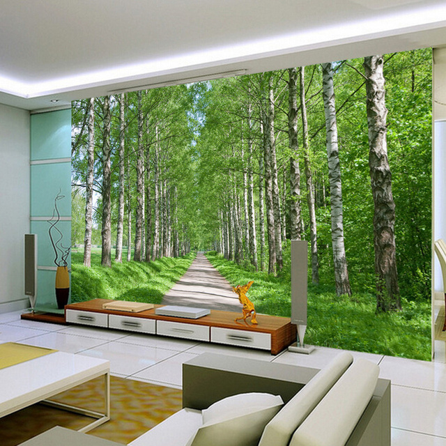 3d wall paper natural forest landscape perspective 3d baby kids room cartoon lovely cute sheep wall decals