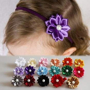 Baby Hair Accessories Cute Cloth Flower Bow Shaped Baby Girls Headband Inlaid Pearl Many Colors