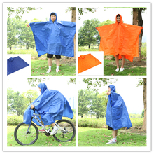 Multi purpose Outdoor Poncho Raincoat Bicycle rain wear Camping Tent Mat Travel Equipment Orange Blueling Travel