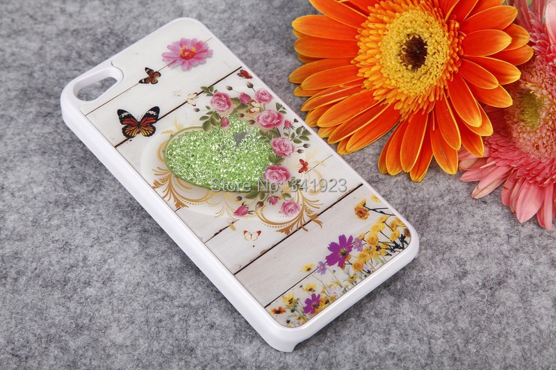 2014 Fashion Heart Flower Small Fresh Movable Crystal Bling Hard Back Cover Cases Apple iPhone 4s/5s/5c Purple Red Black - Concession Stand store
