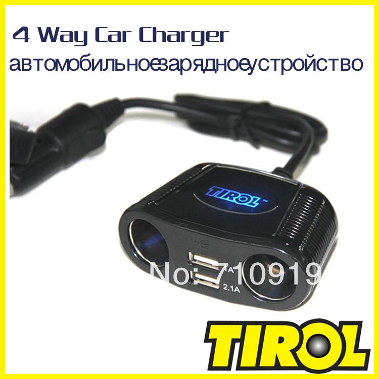 TIROL T16248 4-Way Cigarette Socket Splitter Dual USB 2.1A +150W Twin Sockets Car Charger For iPad& Digital Device Free Shipping(China (Mainland))