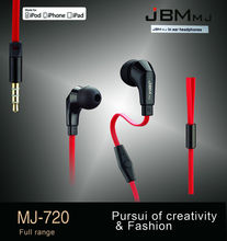 Hot Sale!!! Original JBM MJ720 Stereo Headphones 3.5MM In-Ear Earphones Earbuds Super Bass Headset Handsfree With MIC(China (Mainland))