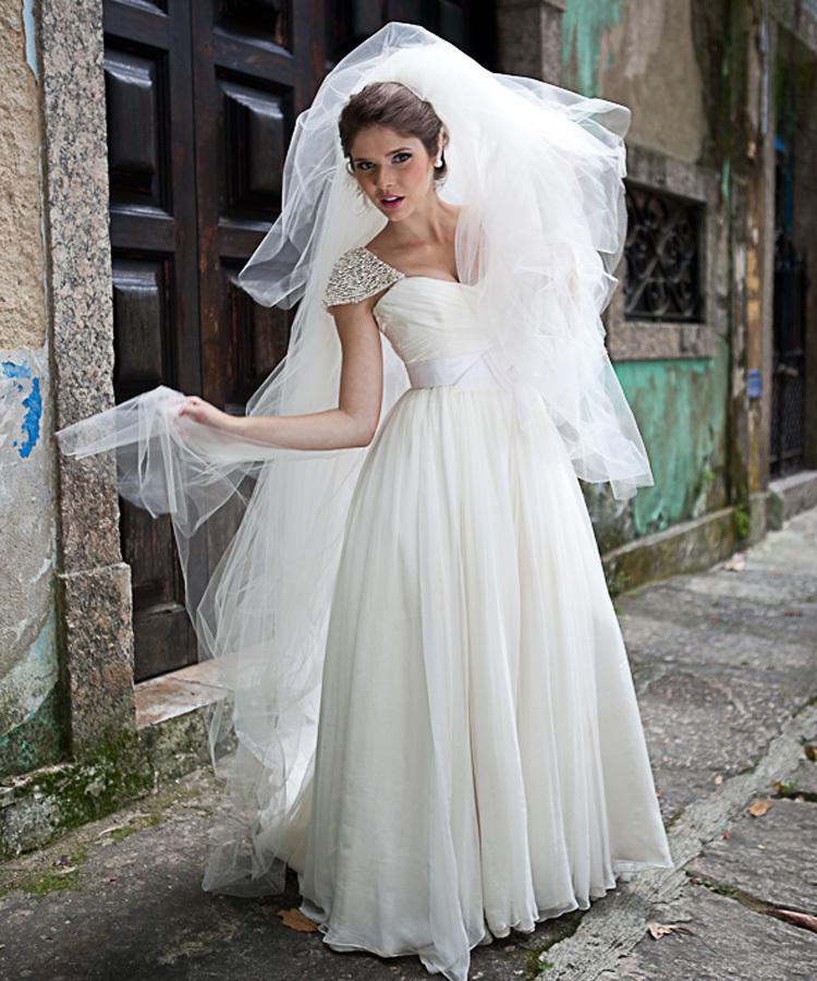 Custom made beaded cap sleeve chiffon wedding dress in for Ivory color wedding dress