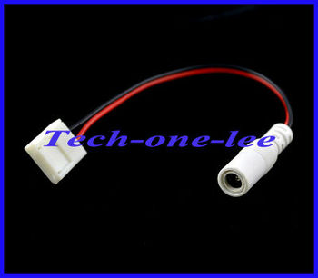 10pcs/lot 17.5 cm Wholesale White 5.5x2.1 DC Female to 2Pin No Welding Led Strip Connector Adapter For 5050 Free shipping