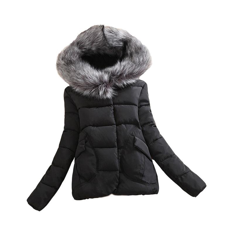 Скидки на Новый 2016 Зимняя Куртка Способа Женщин Короткий Насыщенный Молния Сельма Стандартный Полный Хлопка Пальто Плюс Размер M-XXL