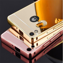 For Huawei Ascend P6 P7 Case Luxury Glitter Mirror Plating Metal Aluminum+Acrylic PC 2 in 1 Back Cover Capa Para Fundas