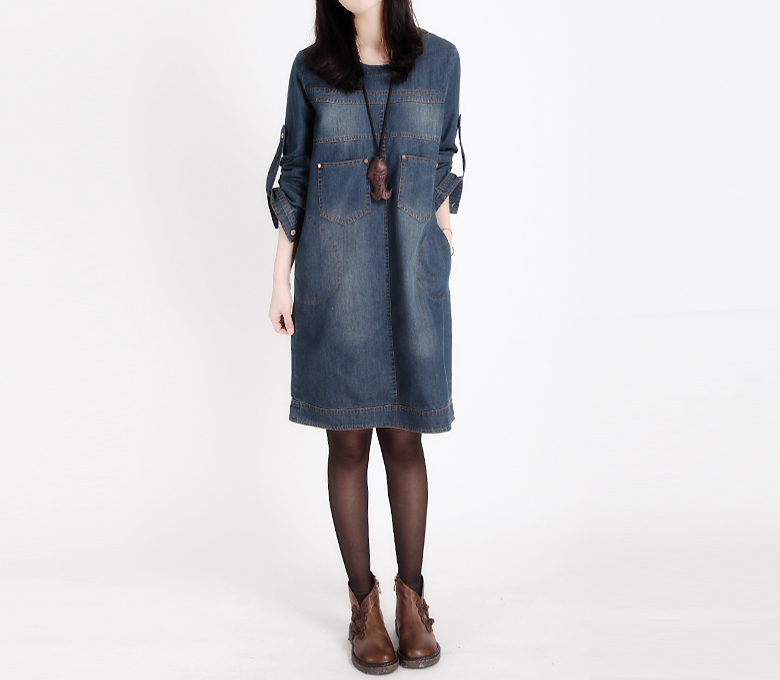 Awesome New Fashion Women Long Denim Dresses Plus Size Long Sleeve Jeans Dress