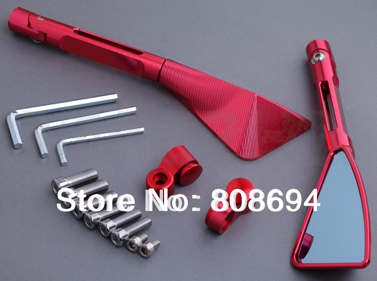 Motorcycle CNC Tomok L&amp;R Rear Side Mirrors Red Street Bike<br><br>Aliexpress