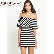 2015 summer style Off Shoulder Sexy Mini Beach Casual Dresses Cotton Striped Ruffle Bardot Dress White and Black Short Sundress(China (Mainland))