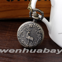 Fashion Vintage Small Deer and Plum flower Pocket Watch Steampunk Necklace Pendant Pocket Watch men's women's Gift P343