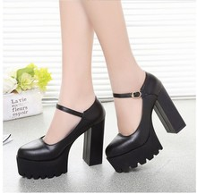 2015 spring and autumn fashion high-heeled shoes 12cm strap hasp round toe platform thick heel pumps all-match shoes