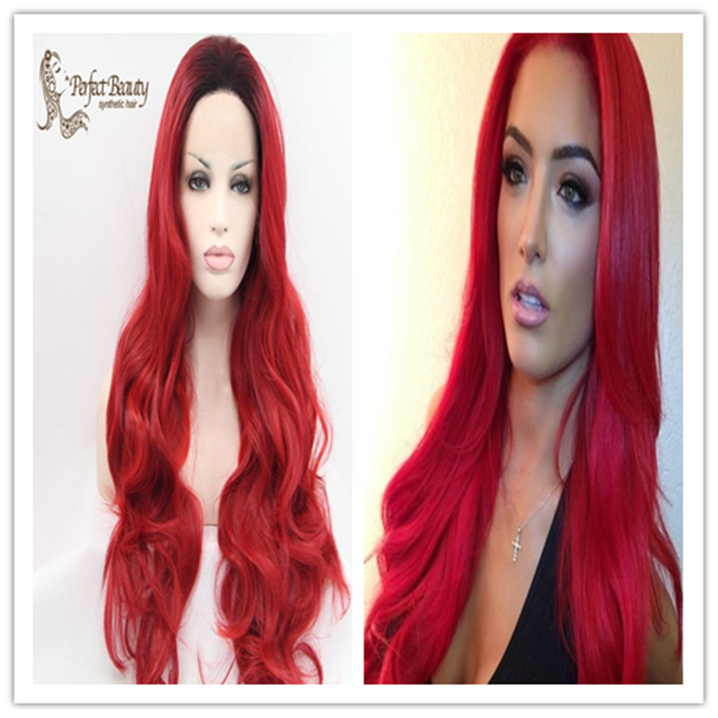 Red Wig Wavy Two Tone Dark Roots Synthetic Lace Front Heat Resistant Long Anime Cosplay Wigs - Perfect Beauty Hair Salon store