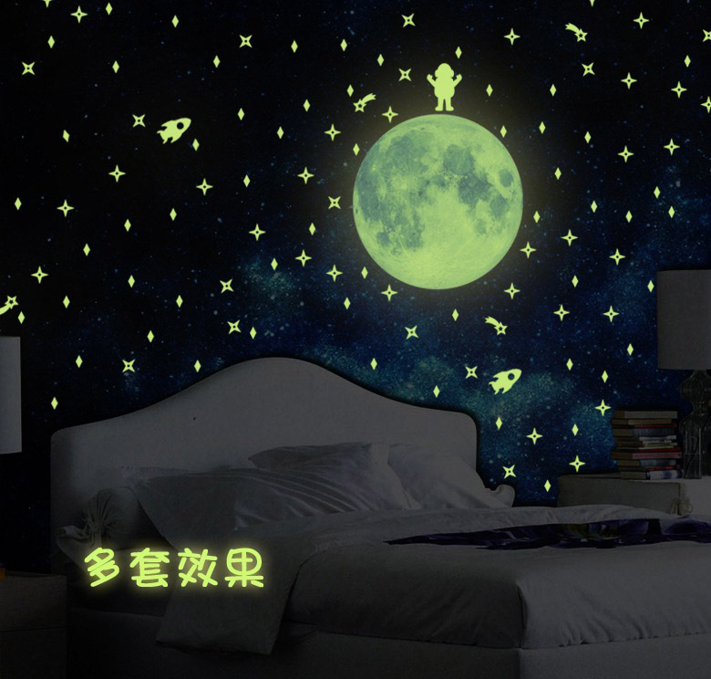 1 PC 31x37cm Luminous Glow in the Dark Moon Wall Stickers Fluorescent Moonlight Sticker for Kids Room Decoration Wall Decals(China (Mainland))