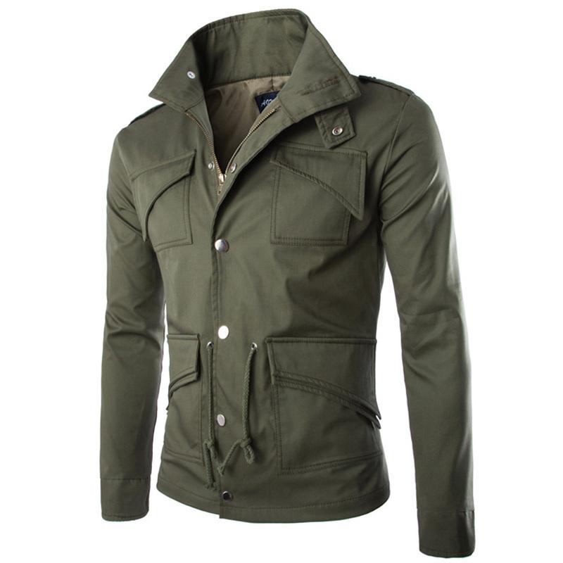 New 2015 Fashion Long Sleeve Men Winter Jackets Coats Brand Cotton Turn Down Collar Jackets Pocket Men Casual Dress Clothing XXL(China (Mainland))