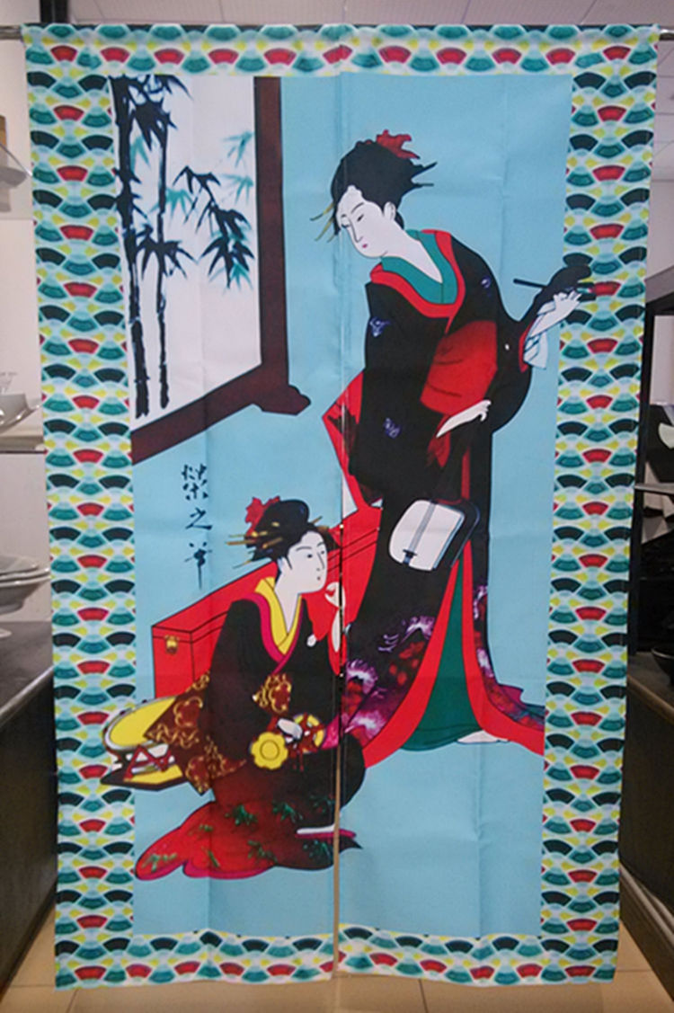 Free Shipping Feng Shui Japanese Sushi Restaurant Kitchen Hanging Curtain, Japan Ladies, 85x140cm(China (Mainland))