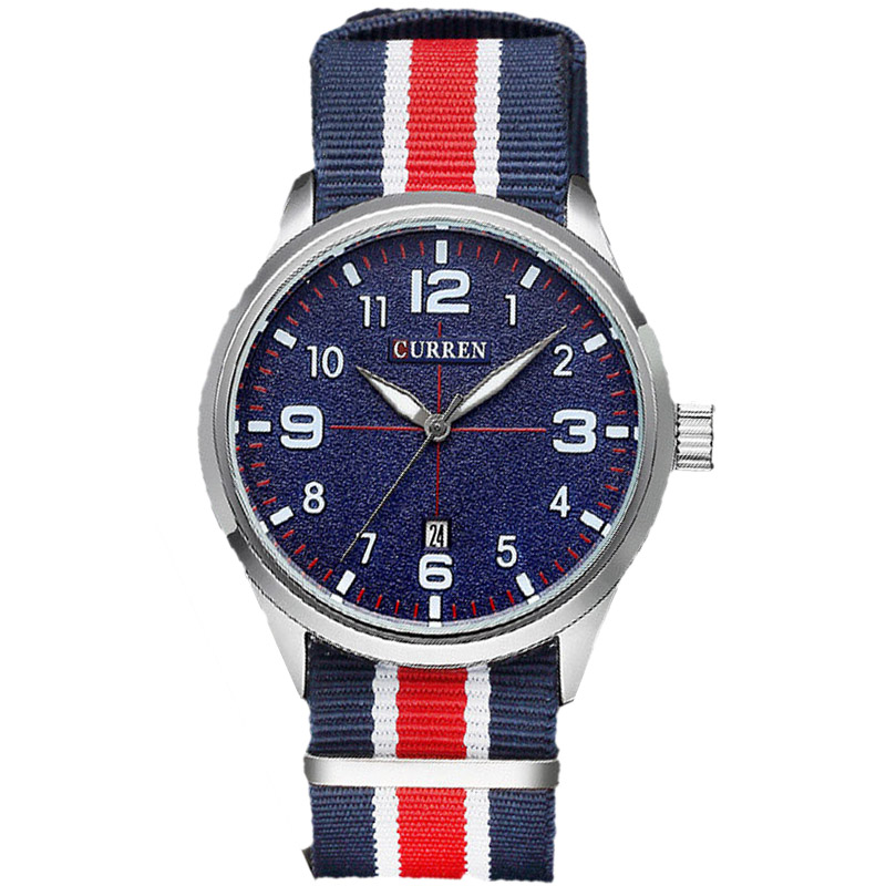 Top Brand Curren Military Watch Casual Watches Men Wristwatch Fabric Strap Quartz Sport Wrist Watch Men's Clock Male Xfcs Reloj(China (Mainland))