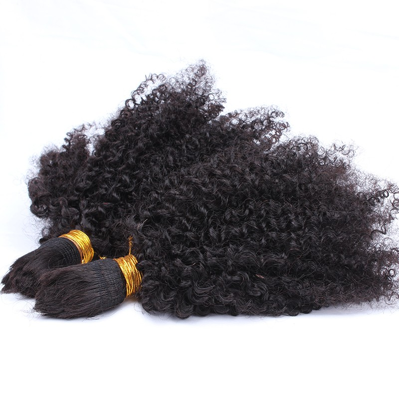 Mongolian Afro Kinky Curly Bulk Hair For Braiding 100% Virgin Human Hair No Attachment Natural Black Hair 4B/4C Natural Hair