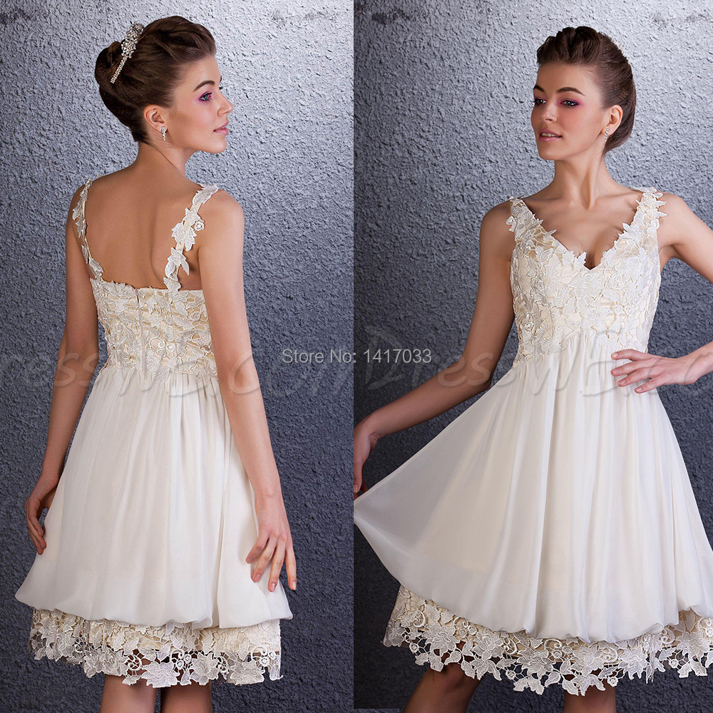 Buy vestidos curtos 2015 beige short for Beige short wedding dresses