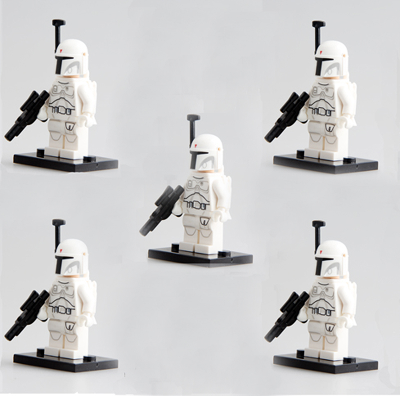 STAR WARS Force Awakens First Order WHITE BOBA FETT Minifigures EXCLUSIVE Prototype Compatible legoe block kids toys - Easter Toys Store store