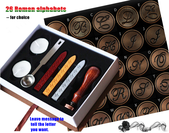 Roman letter sealing wax stamp set for gift 26 alphabets 1*sealing wax stamp 3*wax stick 1*spoon(China (Mainland))
