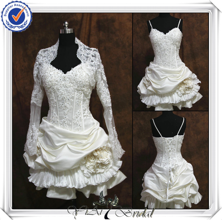 Jj0093 newest lace long sleeve short wedding dresses with for Wedding dress long sleeve lace jacket