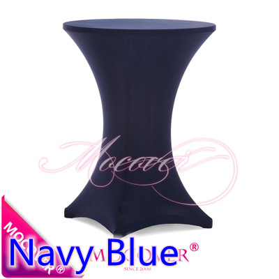 Navy Blue Spandex table cover,cocktail table cloth,lycra high bar table cover wedding,party and hotel table decoration(China (Mainland))