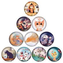 אופנה יפה Cartoon חתולים יופי 10pcs 12mm/18mm/20mm/25mm עגול תמונה זכוכית קרושון הדגמה שטוח חזור ביצוע ממצאי(China)