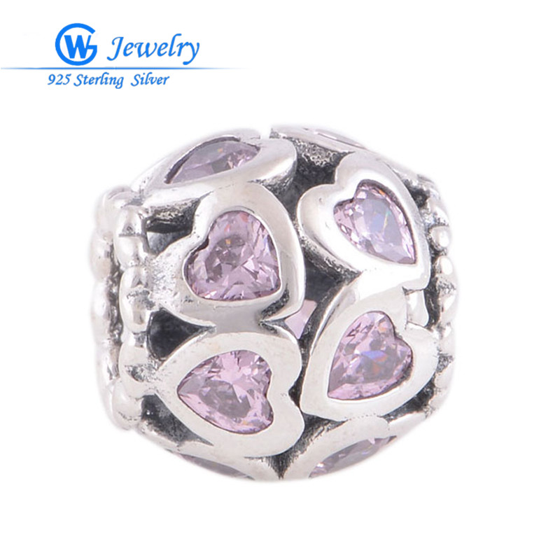 Original 925 Sterling Silver Heart Charms For Women Fits Famous Brand Bracelet Fine Jewelry Floating Beads Charm LW339<br><br>Aliexpress