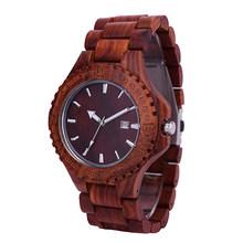 Reloj de madera SIHAIXIN para hombre con correa de sándalo negro relojes de movimiento de cuarzo diseño de fecha reloj de pulsera de madera Vintage reloj Masculino(China)