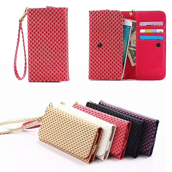 Grid Grain Flip Cover Wallet Bag Case For HTC Desire 610 Universal Leather Strip Portable Phone Pouch For HTC Desire 600 (M)(China (Mainland))