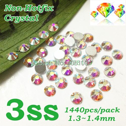 Nail Art Rhinestone Crystal AB Color SS3 (1.3-1.5MM) 1440pcs/pack Non Hotfix Flatback Crystal Stones(China (Mainland))