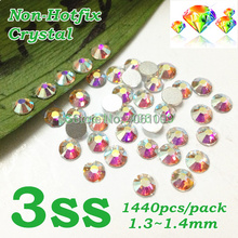 Nail Art Rhinestone Crystal AB Color SS3 (1.3-1.5MM) 1440pcs/pack Non Hotfix Flatback Crystal Stones