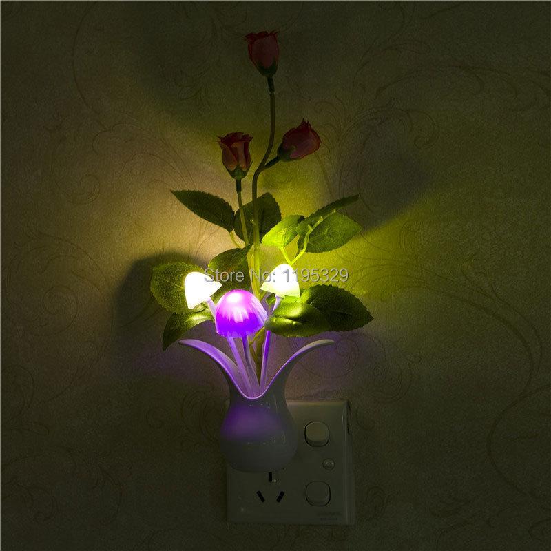 2014 New Romantic Mini Lovely Led Cute Color Changing Mushroom Night Light Energy Saving Light Control Lamp Sensor US/EU Plug(China (Mainland))