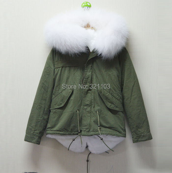 White Mrs real fur collar MR cotton women parka,Women's Faux Fur Winter Jacket Warm Long Hair Overcoat Short Coat - foxfurs store