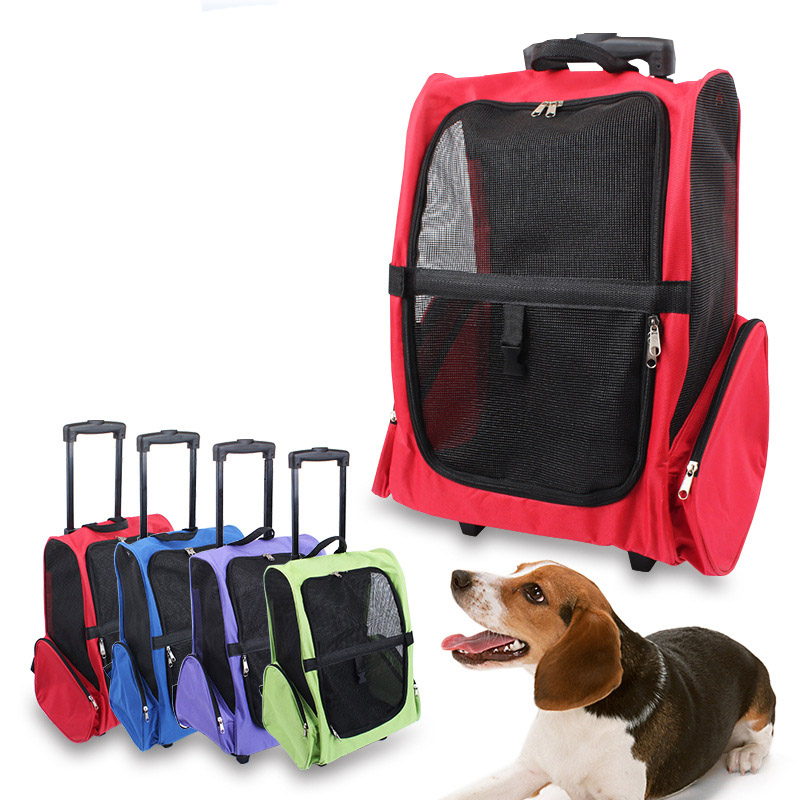 Large Pet Travel Bag Breathable Mesh Pet Trolley Newest Design Multifunction Pet Carrier Bag With 3 Colors(China (Mainland))