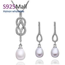 2016 hot sale high quality platinum pearl necklace earring sets women pearl jewelry set full of white aaa zircon free shipping(China (Mainland))
