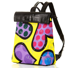 ROMERO BRITTO Free Shipping Shoulder Bags Female 2016 Hot Sales New Casual Fashion Backpacks Travel Bags Graffiti College Wind(China (Mainland))