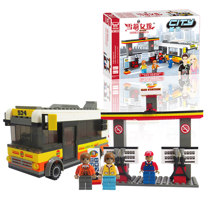 New arrival Building Blocks City bus powered gas station Plastic ABS Educational Bricks Toys for kids Christmas birthday gift(China (Mainland))