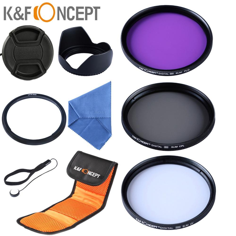 58mm UV CPL Circular Polarizing FLD Filter Kit Lens Hood Cap Adapter Ring Set for Canon PowerShot SX50 HS SX40 IS(China (Mainland))
